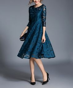 Look what I found on #zulily! Teal Lace Three-Quarter Sleeve Fit & Flare Dress by Coeur de Vague #zulilyfinds