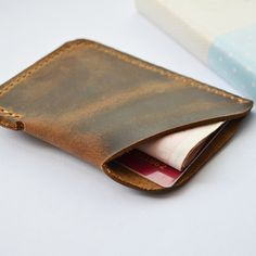 Genuine leather handmade mini miniature mens wallet money id credit cards holder case compact retro (h104)
