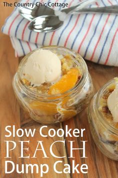 Slow Cooker Peach Dump Cake -- dump the ingredients for this cake into a crock pot -- no stirring required!