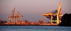 Sundown am Containerhafen, Hamburg
