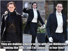 They are making a horror movie with Hiddles looking like that... and I'm supposed to fear him? #CrimsonPeak iRight! pic.twitter.com/qPMlHvNM...(https://twitter.com/Loki_Page/status/459263897657036800)