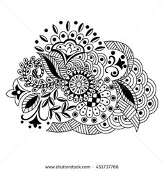 Vector hand drawn decorative floral pattern in the style of zentangle,Doodle. Graphic black and white illustration