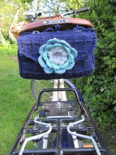 Hand knitted ladies saddle tool bag - navy blue £23.00