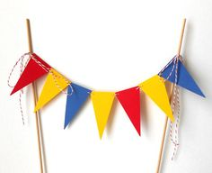 Cake Bunting, Triangle Pennants in Primary Colors - Kid's Birthday, Red, Blue, Yellow, Party, Paper, Baker's Twine, Wood Dowels, Elementary