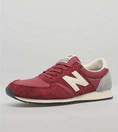 New Balance 420 Suede -- Tags: sneakers, low-tops, red suede, off-white sole, blue tongue tag