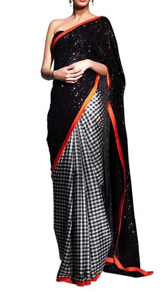 Black and White Checks Saree | Siddartha Tytler | Strand of Silk | Designer Indian Fashion at IBFW | India Bridal Fashion Week