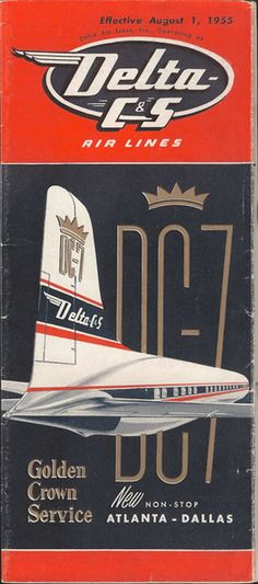 Vintage Airline Timetable for Delta 1955
