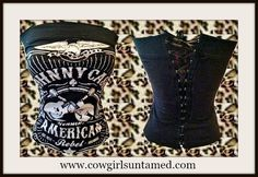 """TOP SELLER and ONLY 2 LEFT!! Black N White """"JOHNNY CASH AMERICAN REBEL"""" with Crossed Guitars and Eagle Lace Up Back Corset Style Top #johnnycash #corset #top #shirt #sexy #pinup #cowgirl #biker #holidayshopping #boutique #biker #onlineshopping #rodeo #lasvegas #fashion #NFR"""