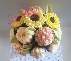 Cupcake bouquet centerpiece - sweetthingsbywendy.ca Let Them Eat Cake, Centerpieces, Floral Wreath, Bouquet, Cupcakes, Sweet, Candy, Bunch Of Flowers, Cupcake
