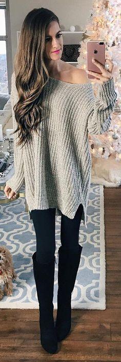 #winter #fashion / Grey Off Shoulder Knit + Black OTK Boots + Black Skinny Jeans