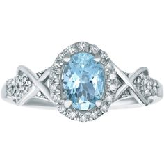 1/4 CT. T.W. Diamond and Genuine Aquamarine 10K White Gold Ring ($625) ❤ liked on Polyvore featuring jewelry, rings, oval ring, criss cross diamond ring, oval diamond ring, round diamond ring and diamond rings
