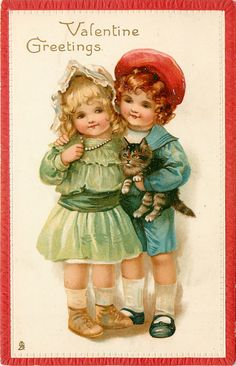 VALENTINE GREETINGS  boy carries kitten, has arm round girls shoulder