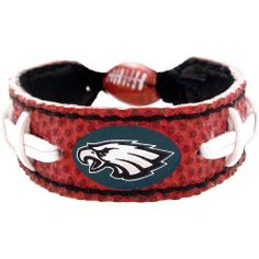 NFL Philadelphia Eagles Classic Football Bracelet by GameWear. $2.00. Contains official team logo. One-size-fits-all. Officially licensed by the National Football League. Bracelets are made of genuine football leather. wear the game. Show off your favorite National Football League team by wearing this stylish, officially licensed football bracelet from GameWear. Each bracelet is made from genuine football eather and real football stitches, and is adorned with your fa...