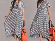Mujeres Rayado empalme Maxi Dress L XL