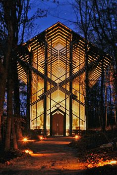 Thorncrown Chapel, Eureka Springs, Arkansas.  One of my favorite chapels -- also, either this one or the main building appeared in the most recent Star Trek movie.  Don't try to plan a wedding there unless you're an ultra-conservative willing to have your vows vetted by their ministry and your ceremony witnessed by one of their employees.