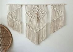 Large macramé trio weaving tapestry wall hanging.