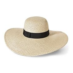 Women's Black Ribbon Floppy Hat - Tan