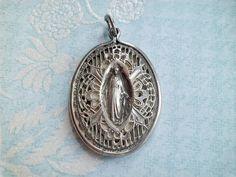 Vintage Religious Medals: Old Vintage STERLING & Guilloche Caged Miraculous Medal Religious Medal Pendant