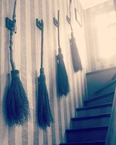 Family of witches. Do you own a broom? This style of broom is often called a besom. Traditionally constructed with a bundle of thin, light… Witch Cottage, Witch House, Spooky House, Practical Magic House, Magical Home, Witch Broom, Witch Decor, Modern Witch, Modern Gothic
