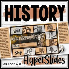 "Educate your students about ""why history matters,"" how to both think and work like a historian, and much more with this visually appealing and engaging interactive HyperSlide resource. Topics covered:What is History?Why does History matter?Historical ThinkingTools of a HistorianPrimary and Secondary... Primary And Secondary Sources, Vocabulary Practice, Up For The Challenge, Sketch Notes, Learning Styles, History Class, Educational Videos, Toolbox, Historian"
