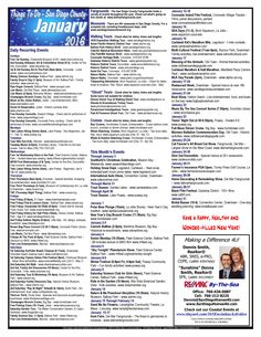 SanDiegoHomes4U.com - With this calendar of activities near your single story home in Carlsbad CA, you will never run out of things to do this January! Find your dream home today. Partner with a knowledgeable and experienced local Realtor® who can help you buy or sell San Diego CA homes at the right price and the right time. Call or text Dennis Smith at 760-212-8225, or email at dennis@sandiegohomes4u.com for all your real estate needs.