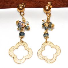 Gold Clover Earrings Sapphire Ethiopian Opal Gold Dangles
