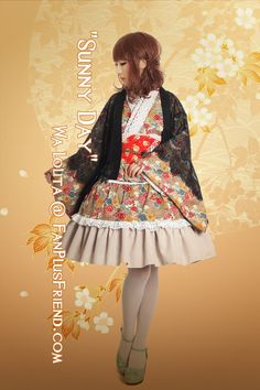"""Sunny Day"" Wa Lolita Kimono/Yukada 5pcs Set*Khaki"