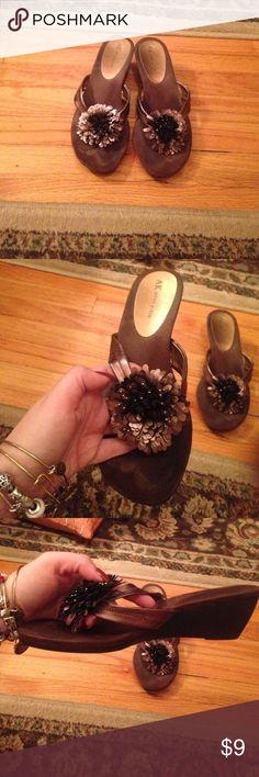 Anne Klein open toe sandals Anne Klein sandals; bronze color with flower accent Anne Klein Shoes Sandals
