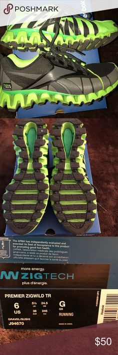 Reebok ZigTech Running Shoes Brand new! These were only tried on and I got them. Then never wore them 😏. Sneakers are a kids size 6 but fit my size 8 in women's. sneakers are black with dark grey and neon green. Reebok Shoes Athletic Shoes