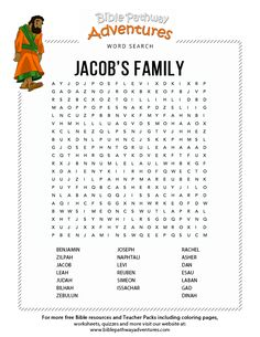 Jacob's Family - Bible Word Search Puzzle   Free Download Bible Topics, Bible Resources, Bible Activities, Sunday School Activities, Sunday School Crafts, Bible Lessons For Kids, Bible For Kids, Bible Words, Children's Bible