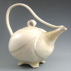 Large Cream Sculptural Teapot