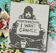 Kepp your money I want change Banksy free cross stitch pattern embroidery