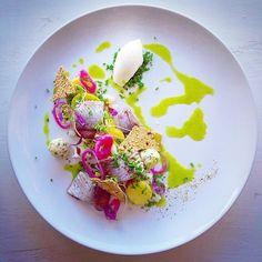 """Gubbröra"" Matjes herring potato anchovy butter pickled red onion egg chives cremè fraiche and seaweed crispbread. by vastkustkockarna"