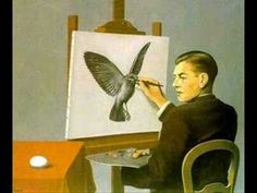 In this painting by surrealist Rene Magritte (who is clearly a Write In Color favorite), he delivers a self-portrait of himself painting a bird. But, as with all of Magritte's work, there is so much more going on. Rene Magritte, Artist Magritte, Max Ernst, Conceptual Art, Surreal Art, Magritte Paintings, Oil Canvas, Canvas Art, Funny Paintings