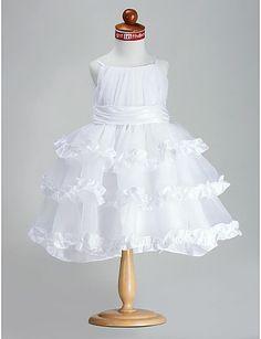 Ball Gown Princess Spaghetti Straps Knee-length Organza Taffeta Flower Girl Dress
