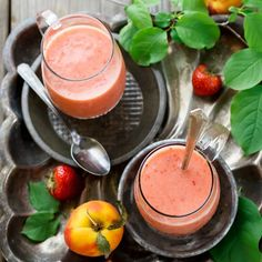 Tart strawberries and sweet peaches make for a fantastic, fruity smoothie. Get the recipe here.
