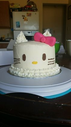 Hello Kitty Cake Decorated with buttercream, chocolate, and small amounts of fondant