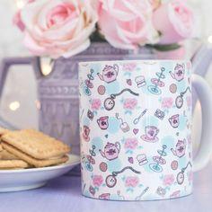 Tea Party Patterned Mug - Time For Tea Collection - Cute Vintage Illustration