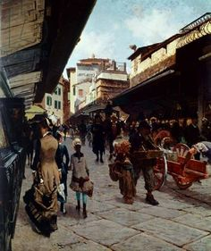 Telemaco Signorini - Ponte Vecchio, Florence, 1880 Italian Paintings, European Paintings, Giovanni Boldini, Italy Tours, Chiaroscuro, Italian Artist, Grand Tour, Illustrations, Henri Matisse