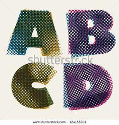 Halftone dots font, dirty grunge color pixels print texture letters, vector alphabet, letters A B C D.