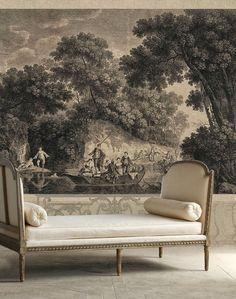 Les agréments de l'été. Low furniture, tall wallpaper, or even a mural.