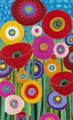 One Fine Day by Maria Reyes-Jones, Art Deco Posters, Motif Floral, Mexican Folk Art, Flower Art, Folk Art Flowers, Whimsical Art, Garden Art, Art For Kids, Indoor Cactus