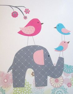 Elephant, Baby Girl Room Decor, Children's Art Decor, Kids Wall Art, Birds, Pink, Gray, Aqua, A Walk in The Garden, Vertical, 8x10 Print