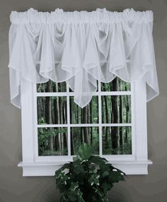 Splendor Batiste Curtains are a Discount Sheer Curtain Panel available in 6 colors with a coordinating Festoon Valance. Valence Curtains, White Valance, Sheer Valances, Swag Curtains, Window Sheers, Home Curtains, Scarf Valance, Drapery, Farmhouse Valances