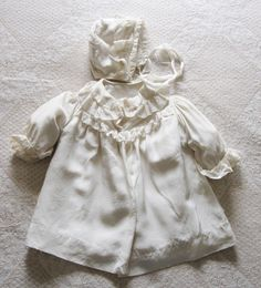 Early 1900s All Satin Frilly Baby Coat with Matching Bonnet SOLD
