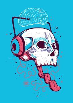 """Sonidos"" del más allá | Sergio Paucar en Arte Manifiesto    #dcoarts #illustration #art #digitalart #drawing #cool #creative #tshirtdesign #poster #artprint #skull #music #death #headphones    Skull illustration | craneo ilustracion | craneo dibujo"