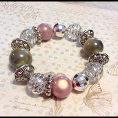 """Funky chunky spring bracelet Chunky beautiful acrylic beads in pastel pink wonder and green with silver. fits 7 1/2"""". Super fun. Sayre Jewelry Bracelets"""