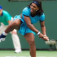 Serena Williams in action at #BNPPO16 Love this blue #Nike outfit.