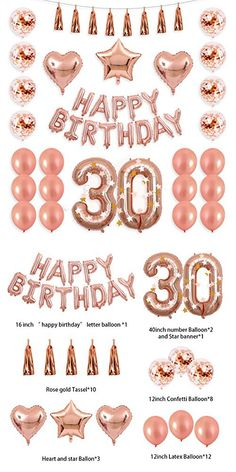BALONA 40 inch Rose Gold Number Balloon 12 inch Rose Gold Confetti Balloon with Happy Birthday Banner Star Balloon Heart Balloon Foil Rose Gold Tassel Garland for Birthday Party Decoration - - Gold Birthday Party, 30th Birthday Parties, Birthday Party Ideas, 30th Birthday Ideas For Women, Birthday Board, Happy Birthday Letter Balloons, Birthday Balloon Decorations, Birthday Garland, Balloon Banner