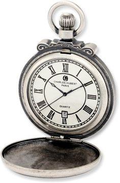 Charles-Hubert, Paris 3864-S Classic Collection Antiqued Finish Hunter Case Quartz Pocket Watch - http://watchesntime.com/charles-hubert-paris-3864-s-classic-collection-antiqued-finish-hunter-case-quartz-pocket-watch/